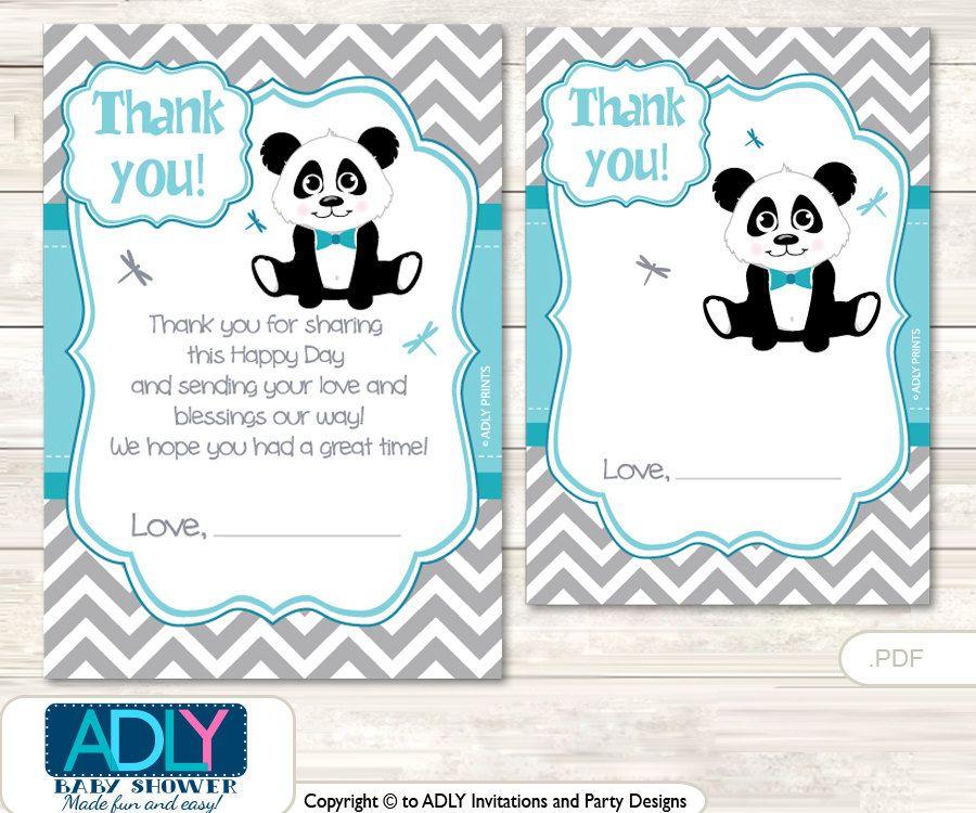 Boy panda thank you card printable for baby boy shower