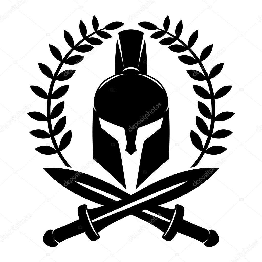 Casco espartano y espadas cruzadas sobre un fondo blanco  ce6ef97d128