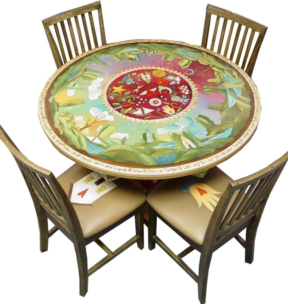 Painted round dining table  I love Sticks Furniture At some point I will have the giant round
