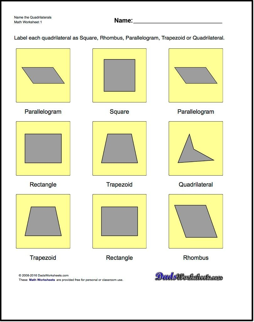 Workbooks worksheets on quadrilaterals and their properties : Name the Quadrilaterals Basic Geometry Worksheet! Name the ...
