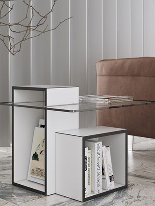 gutta side table wooden side table open shelves and shelves