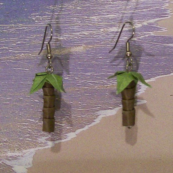Origami Palm Tree Earrings by creationsfromjessie on Etsy, $12.00