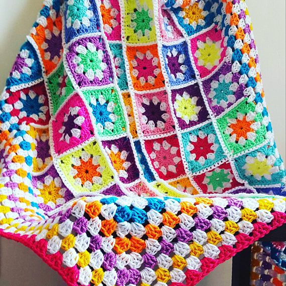 Bright Daisy Granny Squares Vivid Blanket Afghan Crochet Crochet Square Patterns Crochet Blanket Patterns Granny Square