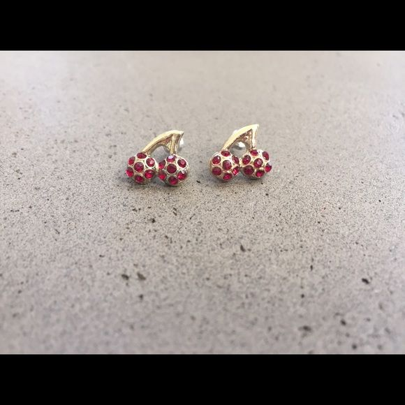 Brand New, Super Cute, Cherry Stud Earrings! Brand new, never worn super cute cherry stud earrings. Red rhinestones & faux yellow gold. Studded back with closure. Jewelry Earrings