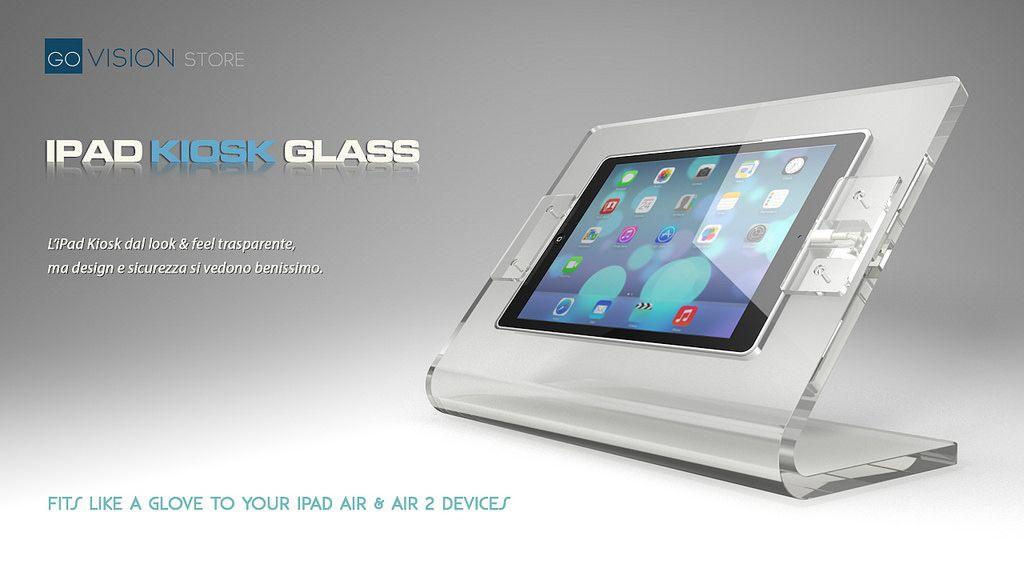 https://flic.kr/p/sSbL2w | Top Glass Kiosk | Top Glass Air, il nuovo espositore all in one, per iPad Air, di Govision. Stand antifurto, cavo di alimentazione integrato, piedini antiscivolo o fissaggio a banco.