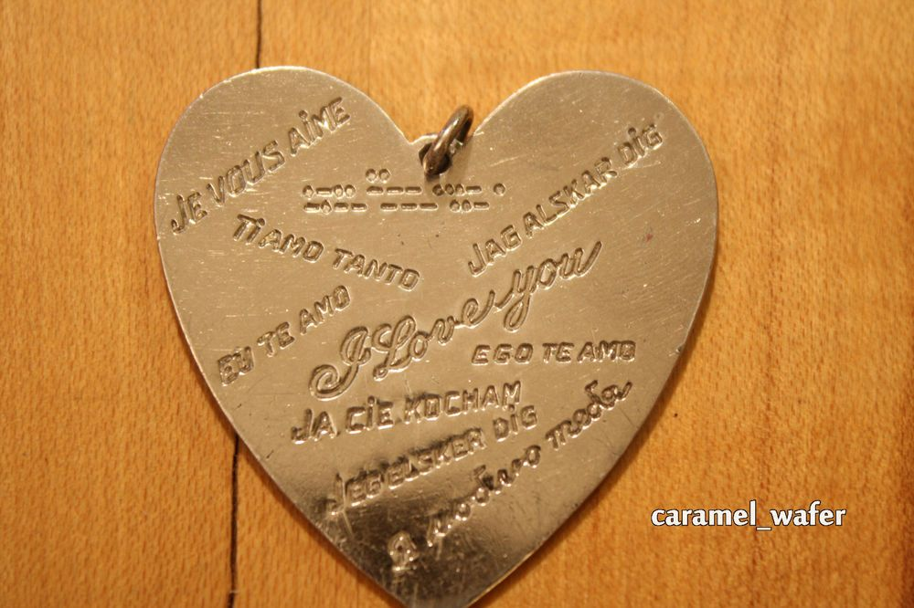 Vintage Sterling Silver Lampl Heart Pendant 16.9g 10 Languages I Love You WWII