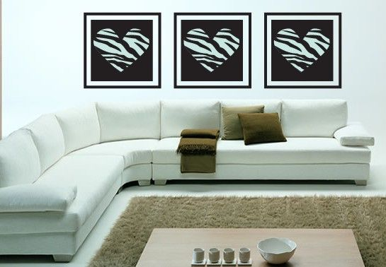 Image Detail For Zebra Print Set Of 3 Hearts Home Decor Wall Corner Sofa Design Modern Sofa Sectional Sofas For Small Spaces