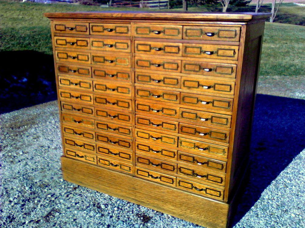 - 44 Drawers Antique HARDWARE CABINET Tiger Oak Circa 1920