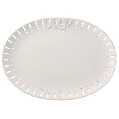 Mud Pie Ceramic Scalloped Trim Serving Platter