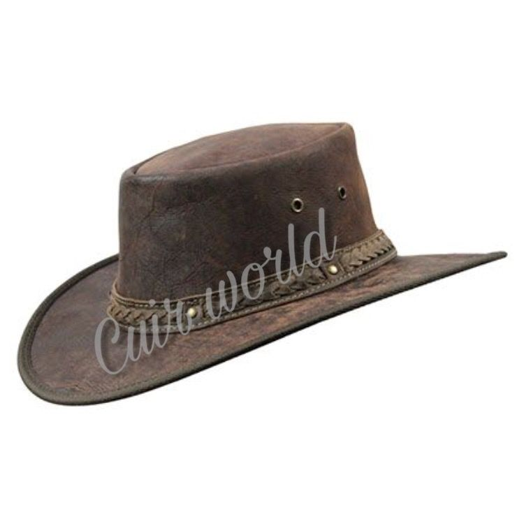 e3cfc129821 Cowboy Hats and Western Hats For MEN   Women Crushable Dark Brown cow leather  hat