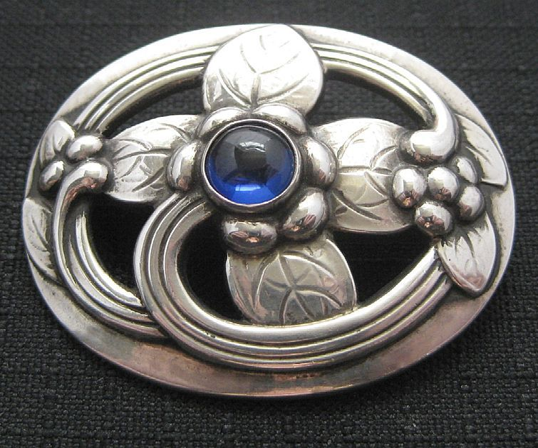 Georg Jensen Sterling Flower Pin with Blue Sapphire