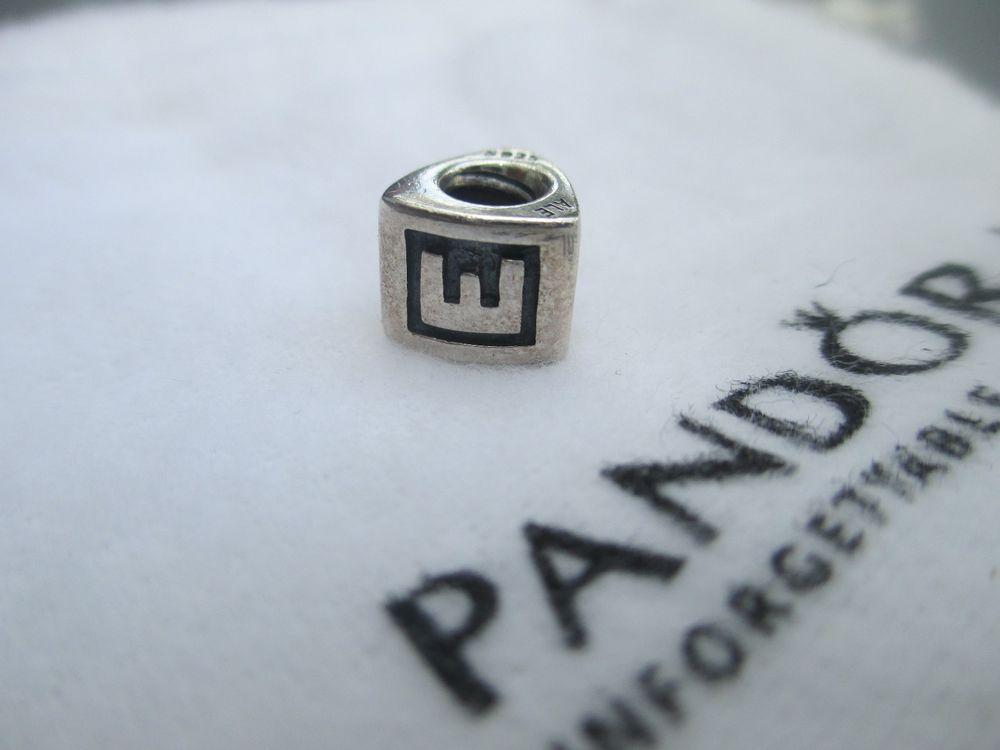 Pandora Block Letter E Silver Initial Charm E  Block