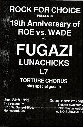 Fugazi, L7, Lunachicks punk hardcore flyer