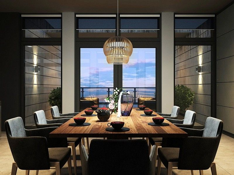 Luxurious Dark Interior for Apartment: Amazing Dining Room Decor Wooden Dining  Table Sophisticated Kiev Apartment