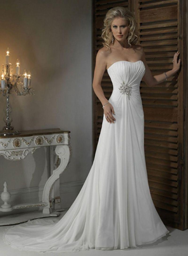 Sweetheart strapless wedding dress  MZ ALine White Chiffon Beaded Sweetheart Strapless Wedding