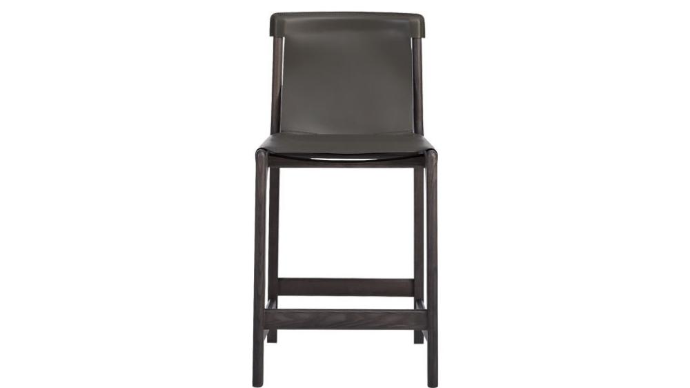 Burano Charcoal Grey Leather Sling Bar Stools Bar stools