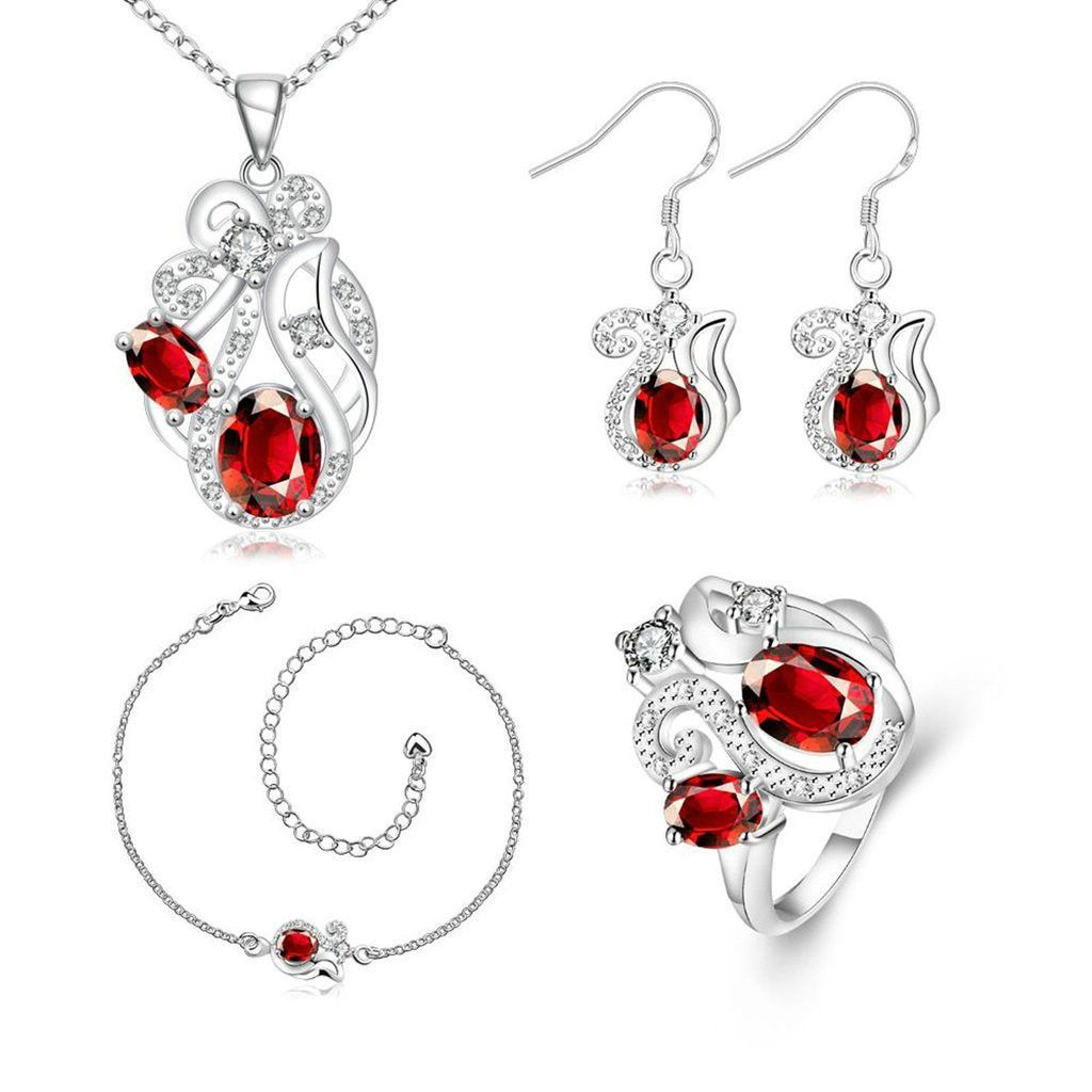Womenus silver plated jewelry sets ring size earrings necklace
