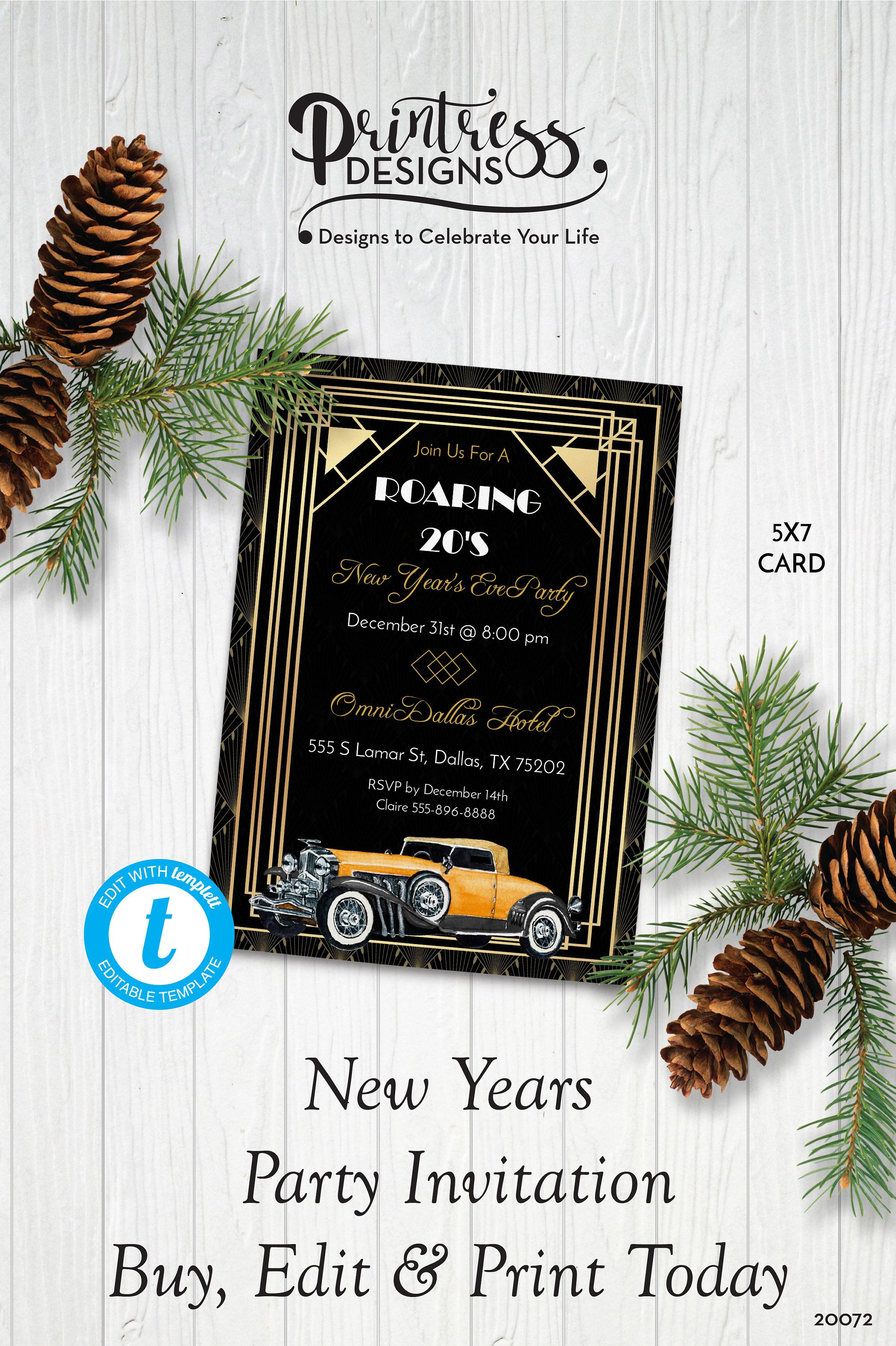 Roaring 20 S Art Deco New Year S Eve Party Invitation Vintage Rolls Royce Nye Party Invite Edit In Templett New Years Eve Party Party Invitations Eve Parties