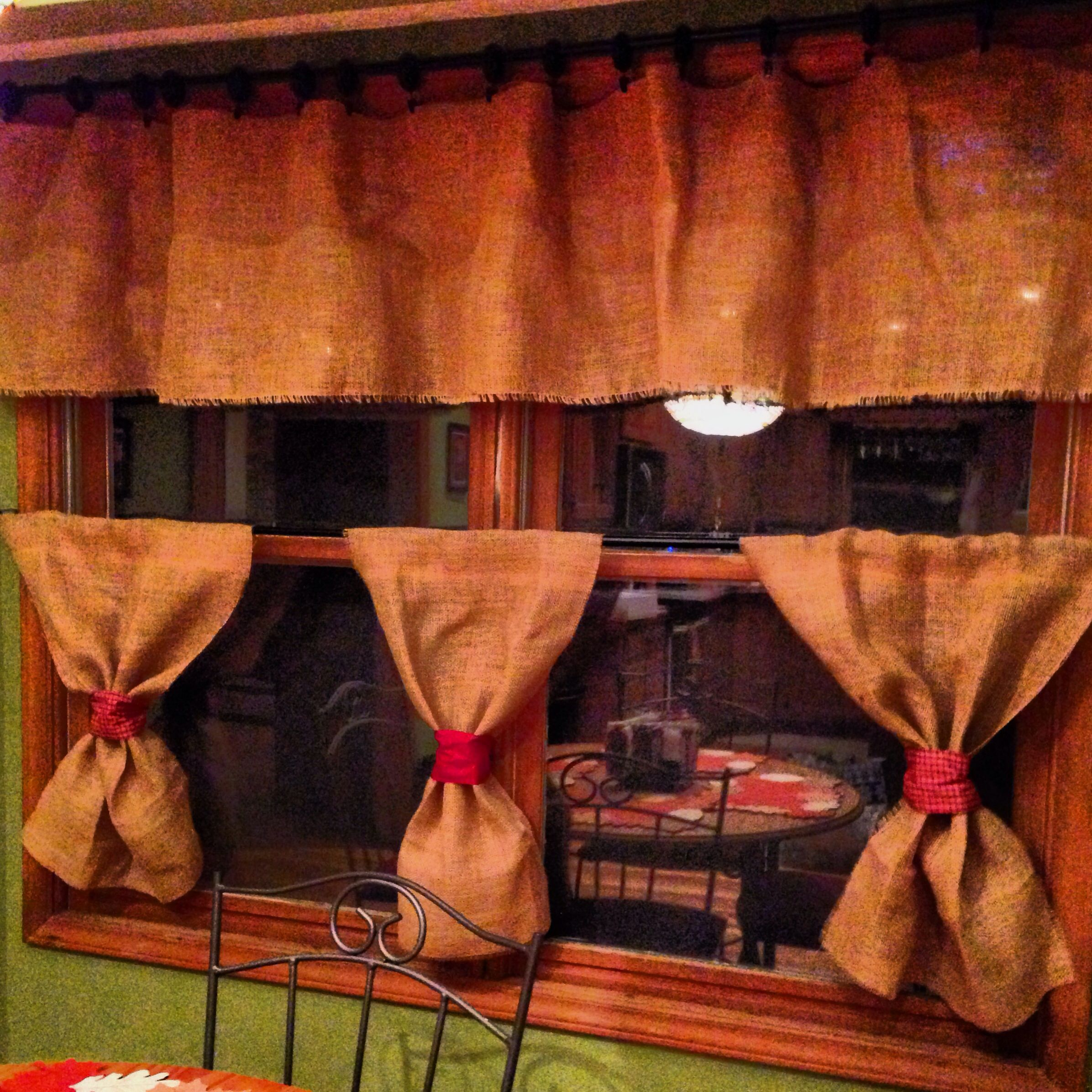 My burlap kitchen curtains burlap ideas pinterest - Kitchen curtains pinterest ...