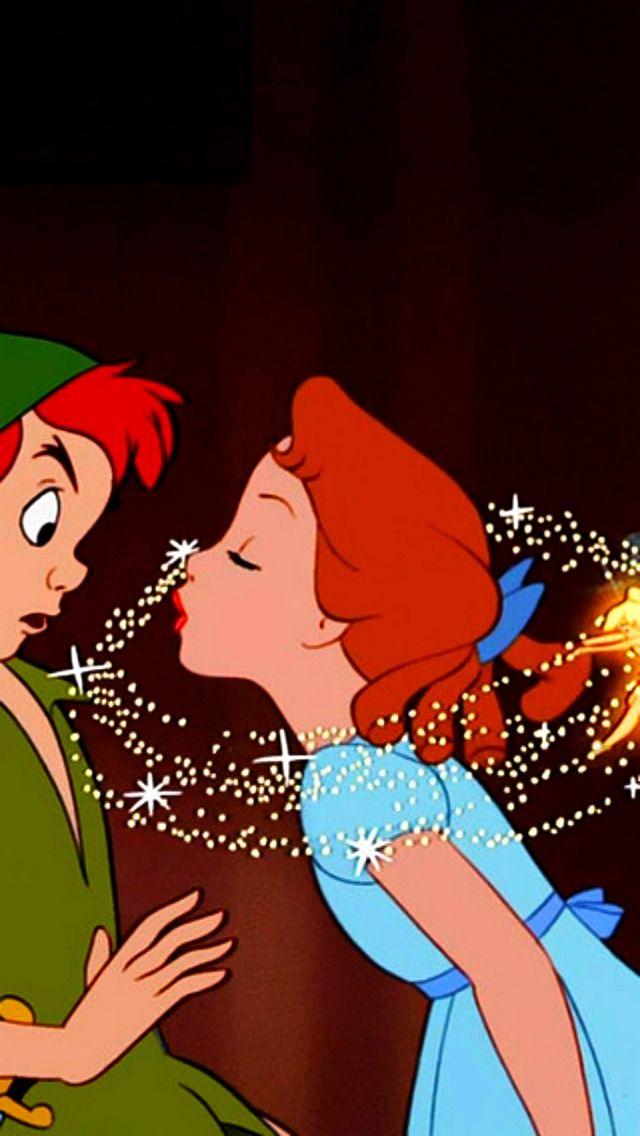 Wendy Attempting To Kiss Peter Peter Pan Disney Disney