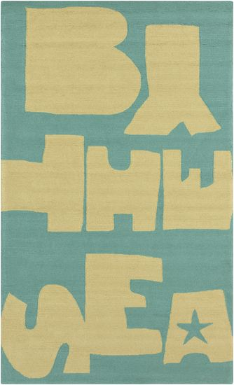 By The Sea In Malachite Blue And Yellow Polypropylene Rug Safe For