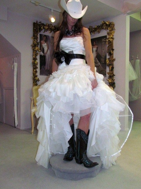 belle bridal wedding dress laurel cowgirl boots and hat wedding bride