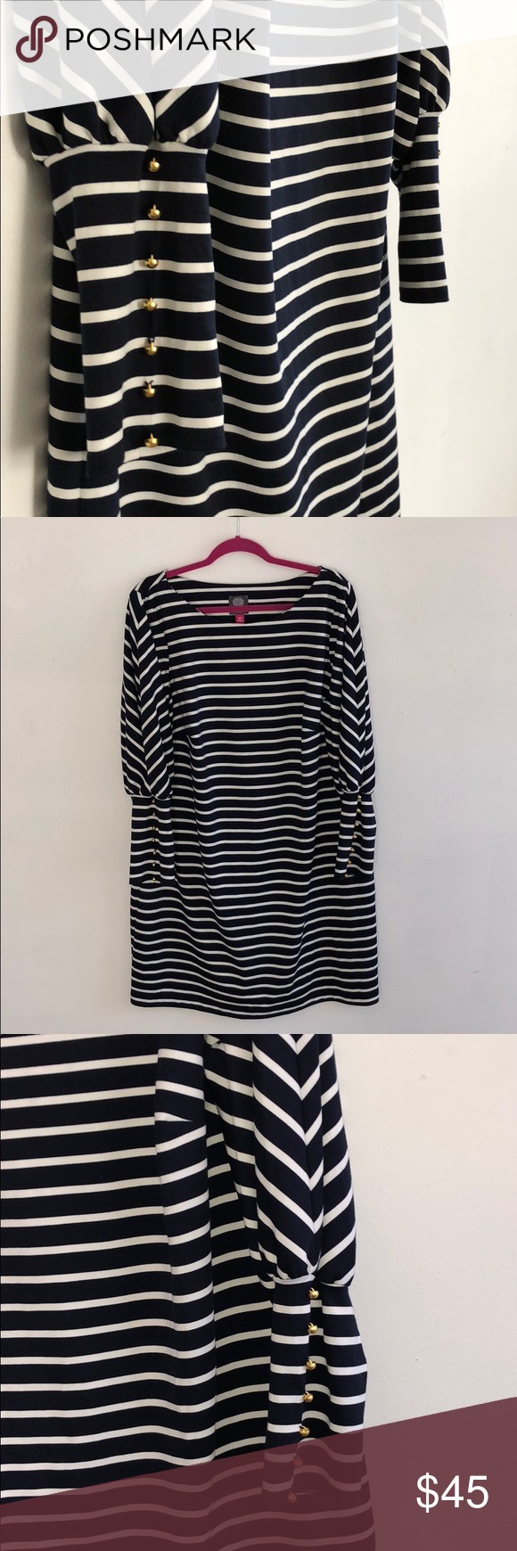 Like New Vince Camuto Striped Dress Gold Details Striped Dress Clothes Design Vince Camuto Dress [ 1740 x 580 Pixel ]