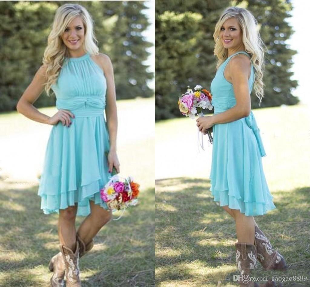 Cheap country style short bridesmaid dresses watermelon royal