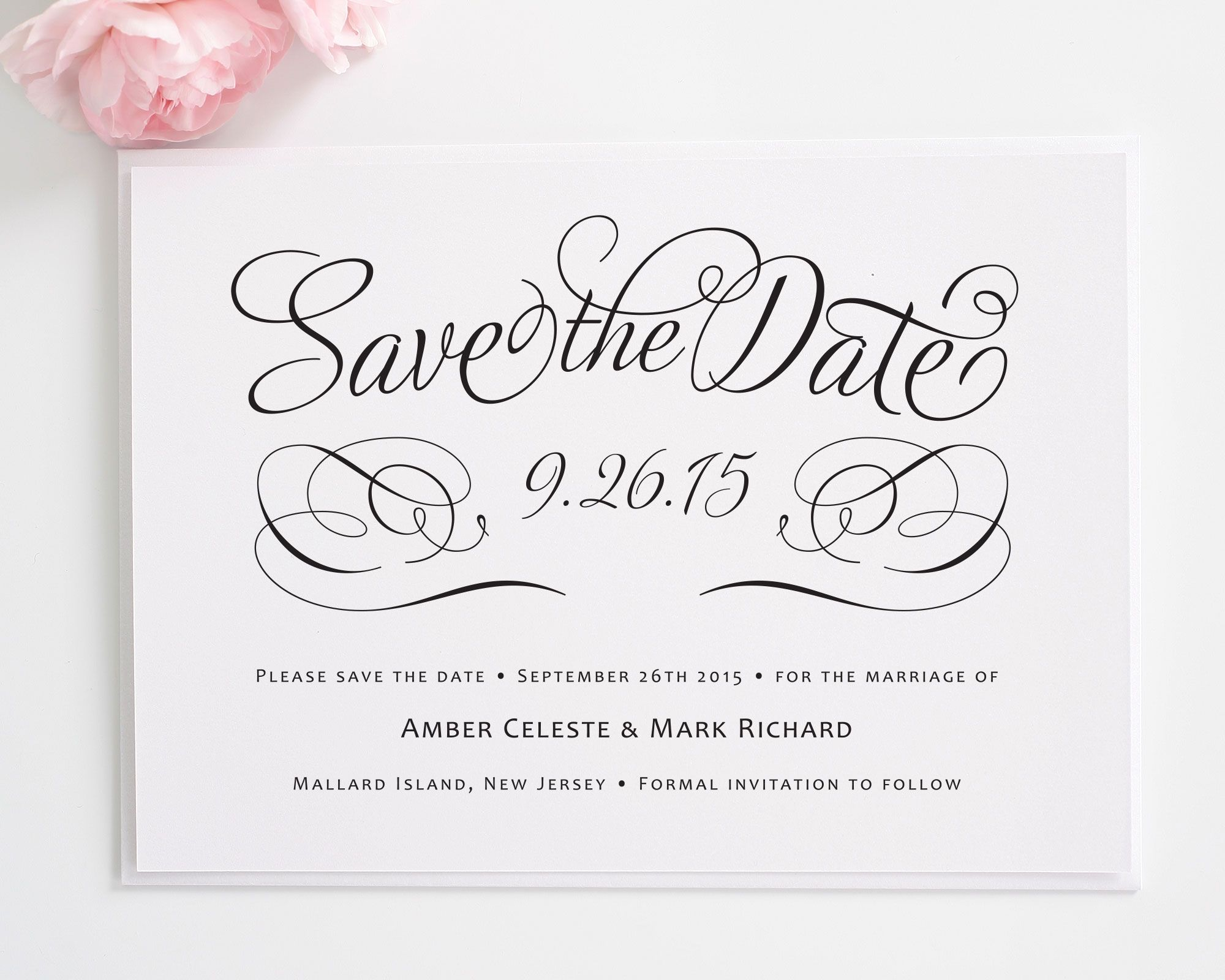 Charming Script Save The Date Cards