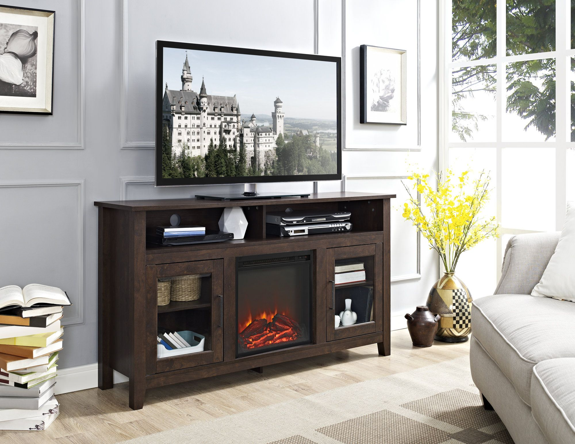 Highboy TV Stand With Electric Fireplace. Highboy Tv StandMedia StandsTv ...