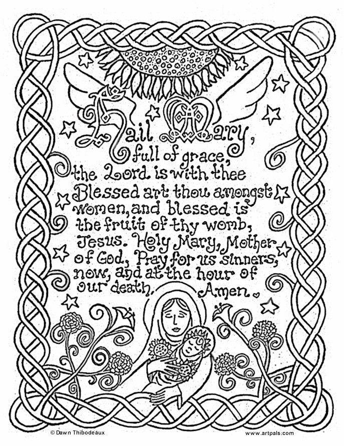 catholic printables] | Hail Mary Catholic Coloring Page | Catholic ...