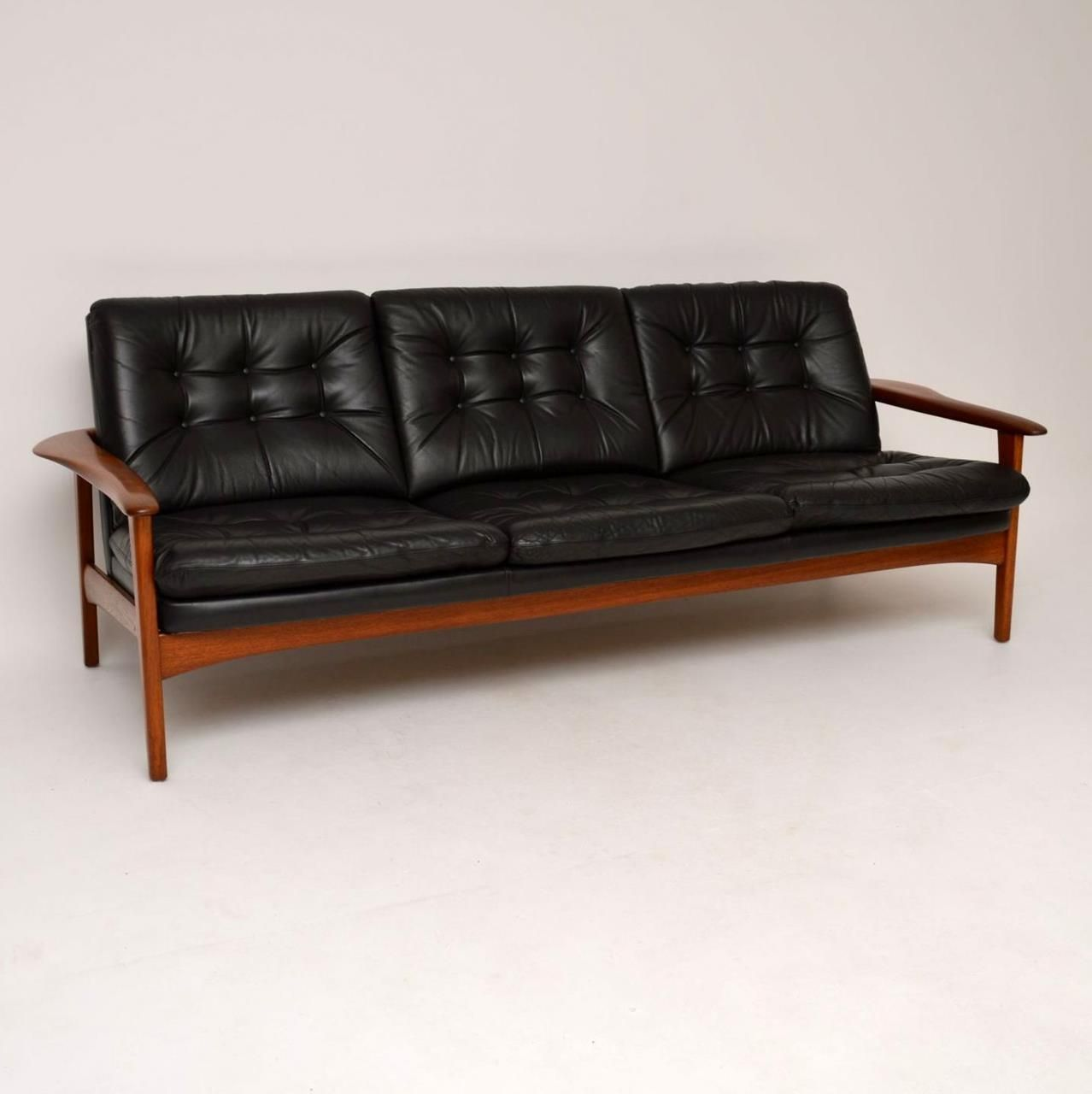 Danish Teak Retro Leather Sofa Vintage 1960 S