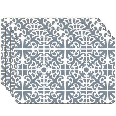 Jason Parterre Grey Hardboard Cork Back Placemats Set Of 4 Blue Placemats Grey Placemats Placemats