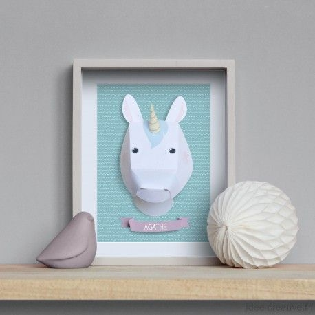 kit troph e en papier licorne fichier silhouette cameo pinterest animaux en papier. Black Bedroom Furniture Sets. Home Design Ideas