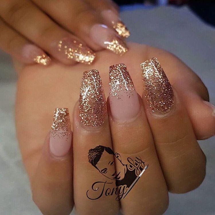Gaaabbriellaa Bride Nails Gold Glitter Nails Gold Nails