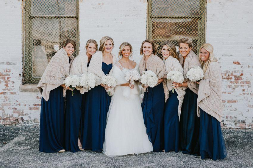 Winter Wedding Dress And Fur Bridesmaids Navy Bridesmaid Dresses