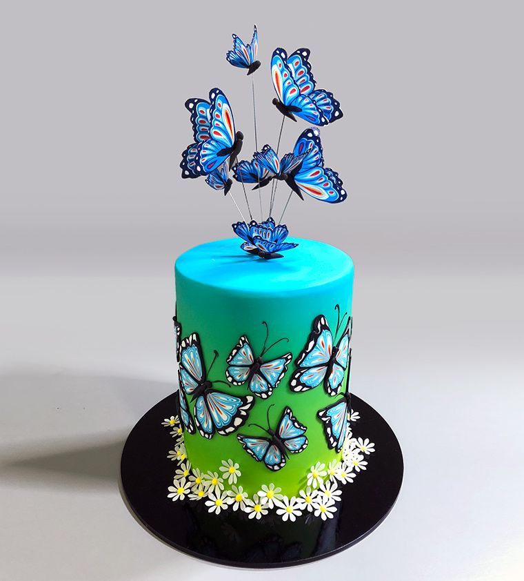 Yeners Sliced Fondant Pattern Technique Butterflies Yeners Way Butterfly Cake Decorations Butterfly Birthday Cakes Cake Decorating Magazine