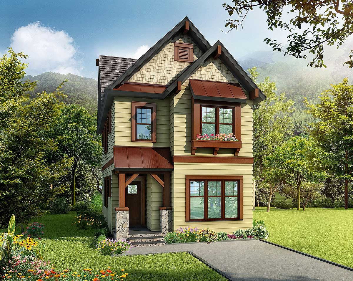 Plan 17809lv cleverly designed narrow lot house plan for Narrow cottage house plans