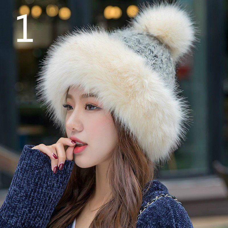 6139e933c Ladies Faux Fur Knitted Bobble Beanie Hat Pom Pom Ball Cossack ...
