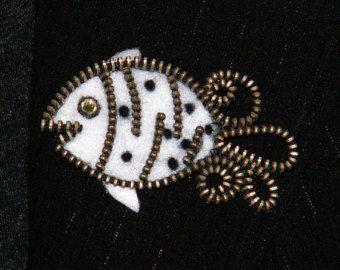 White fish original designer zipper and felt handmade brooch with a Swarovski rhinestone.