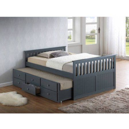 Broyhill Kids Marco Island Full Captains Bed With Twin Trundle And Storage Drawer Gray Walmart Com Space Saving Furniture Bedroom Trundle Bed Twin Trundle Bed