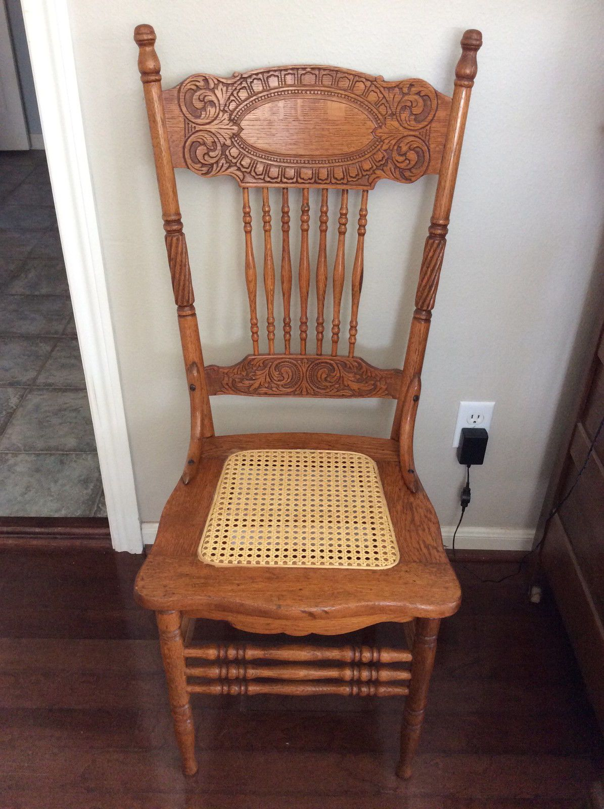 Cane Back Chairs Antique Dining Chair Elastic Seat Covers Oak Larkin 1 Pressed Circa 1900
