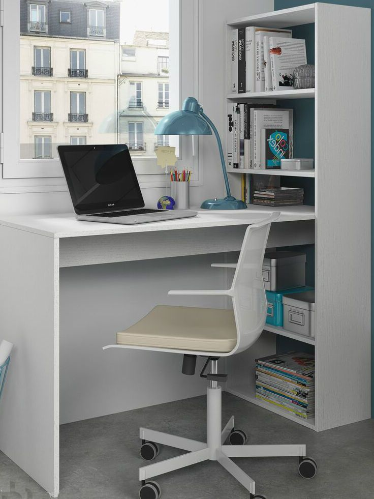 Corner computer desk white study table bookcase storage - Best computer table design for home ...