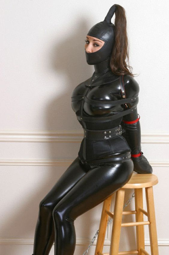 Lockable latex catsuit with mittens