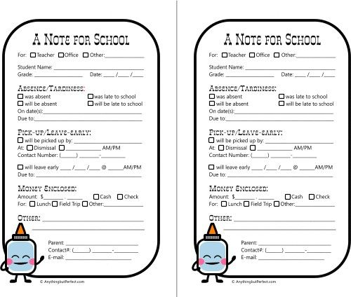 Free printable notes for school from Anything But Perfect Love the - absence note