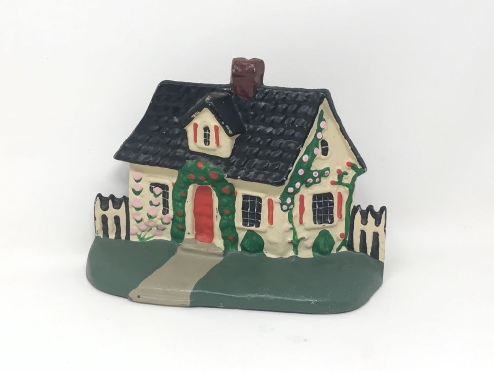 Antique Cast-Iron Winter Christmas House Door Stop -Bookend