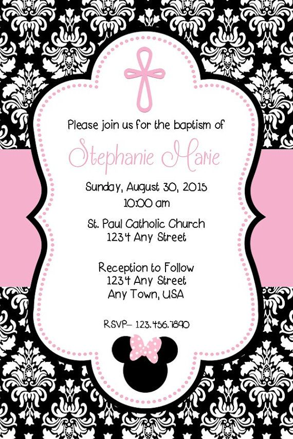 Minnie Mouse Baptism Invitation By MelissaStanleyDesign On