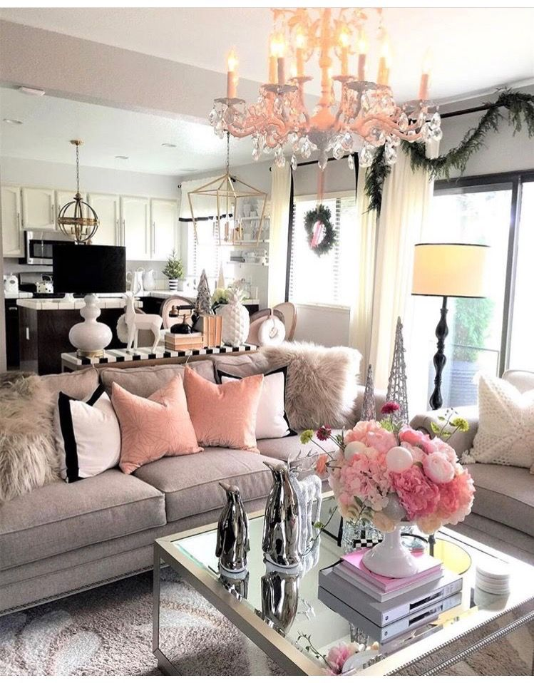 pink glam living room decor Love the pop of Pink maybe Pink Grey and black or