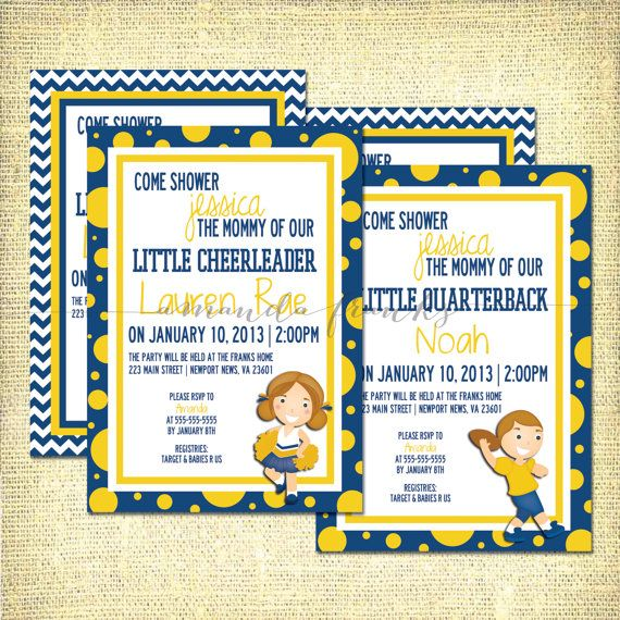 West Virginia University Wvu Inspired Baby Shower Invitation