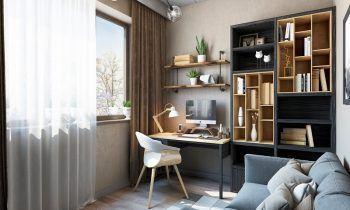 Meubles bureau modernes bois clair bois noir étagères industrielles